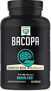 True Recovery Bacopa Monnieri Extract 750mg with High Absorption Bioperine - Brain Supplement for Enhansed Mental Focus an...