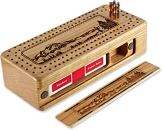 Mountain Hiker Engraved Wooden Cribbage Board with Metal Pegs and Deck of Cards