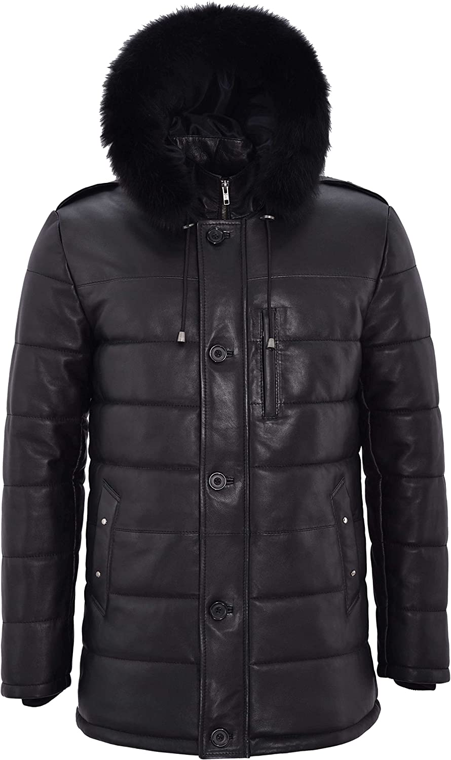 Men's Puffer Hooded Leather Jacket Black Hip Length Quilted Classic Fur Hood 2029