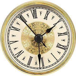 Hicarer 2.8 Inch/ 70 mm Roman Numeral Clock Insert with Gold Trim, Quartz Movement