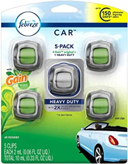 Febreze Car Air Freshener, Set of 5 Clips, 4 Gain Scent, 1 Heavy Duty