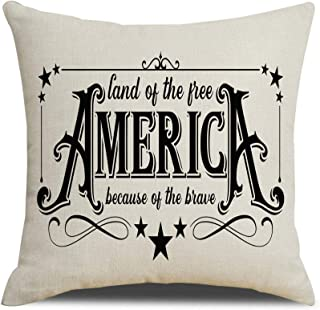 MFGNEH 4th of July Decorations Pillow Covers 18x18 Inch America Land of Free Because of Brave Independence Day Patriotic C...