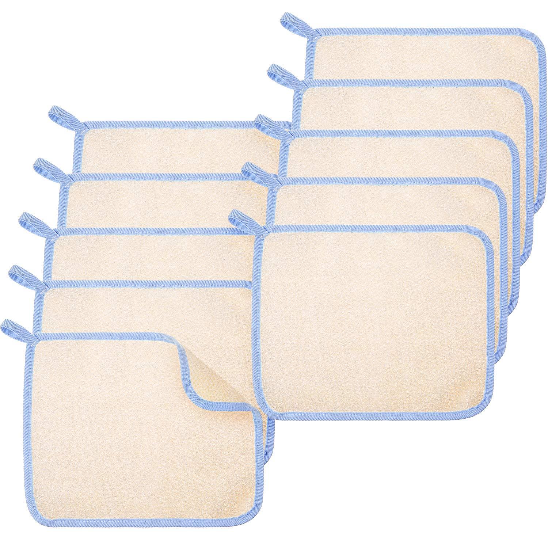 Exfoliating Face and Body Wash Cloths Towel 10 Pieces Soft Weave Bath Cloth 2 Sides Exfoliating Scrub Cloth Massage bath…
