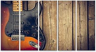 islandburner, Cuadro Cuadros Un Cuerpo de Guitarra eléctrica Vintage golpeado y Sucio contra un Fondo de Tablas de Madera Natural. Impresión Lienzo Formato Grande Cuadros Modernos RJV