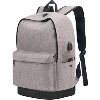 Vancropak 17inch Laptop Backpack, Classic Large School Backpack for Travel with USB Charger Port, College Water Resistant Big Bookbag for Men Women, Canvas High School Daypack Rucksack Computer Bag