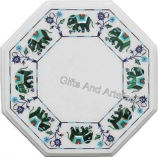 Gifts And Artefacts - Mesa de café de mármol Blanco Octogonal con Incrustaciones de Piedras Preciosas de malaquita con Bor...