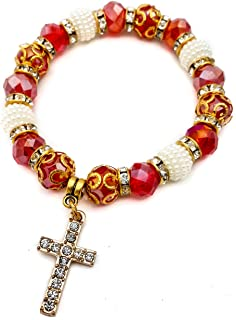 Red Crystal Beads Wrist Bracelet by Nazareth Store | Catholic Cross Bangle Elastic | Handmade Rosary Bracelet from Holy Land