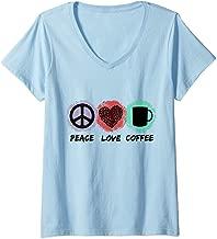 Womens Peace Love Coffee Groovy Caffeine Beverage Drinker Gift  V-Neck T-Shirt