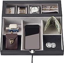 سینی Valet NEATOPA - جواهرات مردانه ، کلیدها ، سازماندهی Nightstand Night برای زندگی کامل روی جعبه Valet جعبه ساخته شده از چرم سیاه PU ، مخمل با ایستگاه شارژ (10 قسمت)