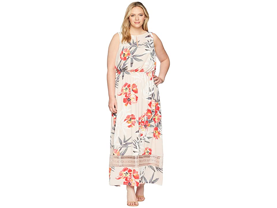 5da47bfd1df54 Adrianna Papell Plus Size Tropical Breeze Maxi Dress (Geranium Multi) Women
