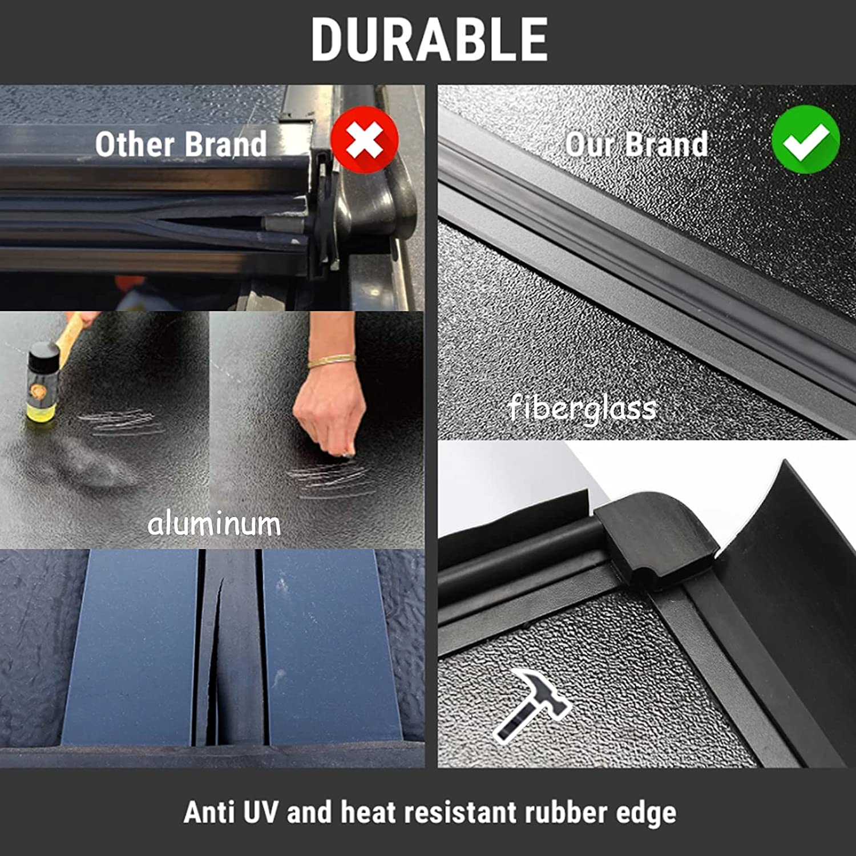 AUTOSTARLAND Flip Fiberglass Hard Folding Truck Bed Waterproof Tonneau Cover Fits 2019-2021 Dodge Ram 1500 New Body Style 5' 7