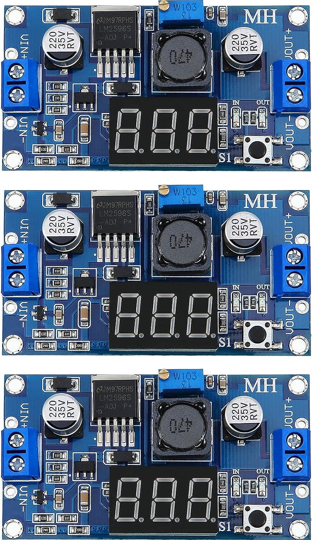 Adjustable LM2596S DC-DC Buck Converter Reduced Voltage Regulator Power Supply Module 36V 24V 12V to 5V 2A Voltage Stabilizer with Digital Voltmeter Display (3 Pieces)