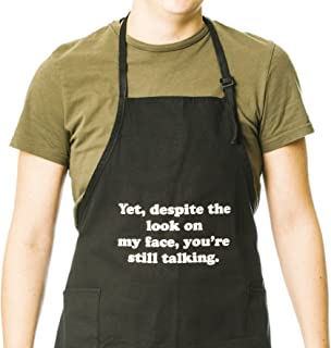 Funny Guy Mugs Yet Despite The Look On My Face Adjustable Apron with Pockets - Funny Apron for Men and Women - Perfect for Kitchen BBQ Grilling Barbecue Cooking Baking Crafting Gardening