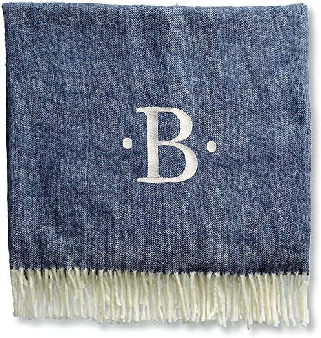 Amazon Com Lillian Vernon Personalized Navy Blanket With Dots And Initial Home Kitchen