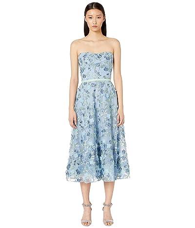 Marchesa Notte Strapless Embroidered Tea Length Gown (Light Blue) Women