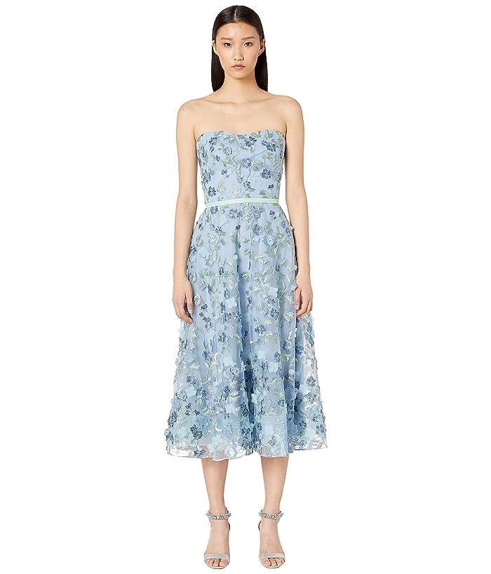 0423172c Marchesa Notte Strapless Embroidered Tea Length Gown (Light Blue) Women