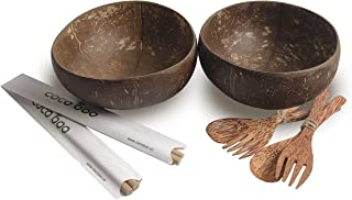Cocoboo - Complete Gift Set 2, Real Coconut Shell Bowls, Artisan Handmade, Salad/Smoothies Bowl (2 Smooth Bowls, 2 Spoons, 2 Forks, 100 Smoothie Bowl Recipe Ebook)