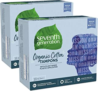 Seventh Generation Organic Cotton Tampons with Comfort Applicator Regular Absorbency 18 Count, Pack of 2