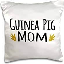 3dRose pc_154048_1 Guinea Pig Mom for Pet Owners Cavy Rodent Family Pets with Brown Paw Prints Footprints Pillow Case, 16 x 16