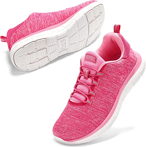 STQ Slip On Sneakers for Women Lightweight Tennis Shoes Comfortable Arch Support