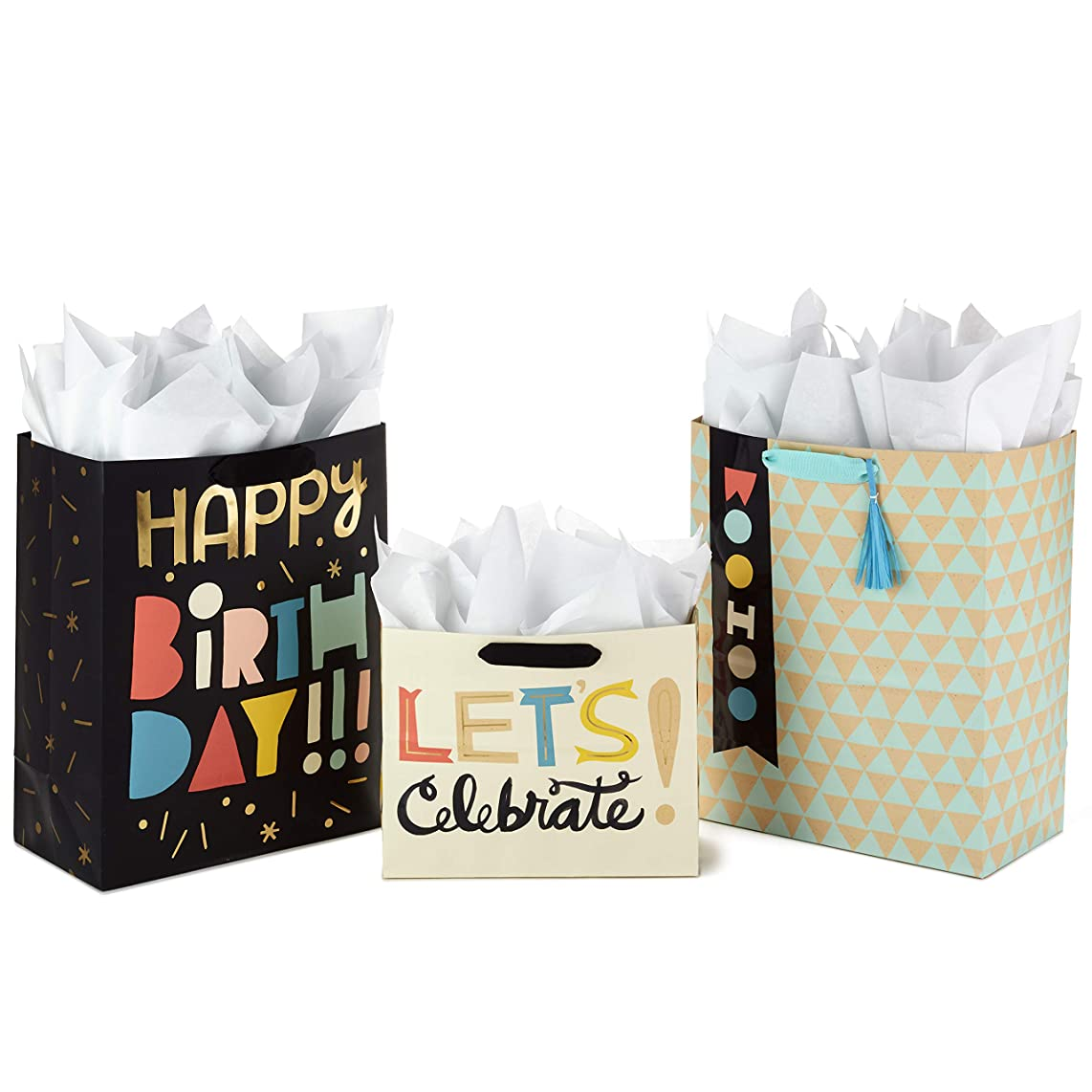 Hallmark Celebrate Gift Bags Assortment with Tissue Paper (Pack of 3 Large and Medium Gift Bags for Birthdays, Baby Showers, and More)
