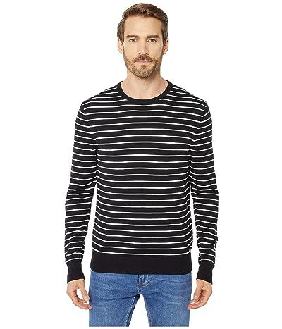 Calvin Klein Long Sleeve Liquid Touch Crew Neck Sweater (Black) Men