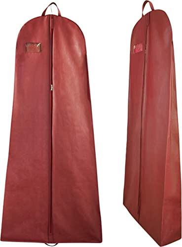 Global Trade Wedding Lehenga Gown Long Dress Garment Cover Bags 72 With 8 Gusset Wedding Dress Lehenga Long Dress Storage Bag Made Of Non Woven Fabric With Front Zip Pack Of 1 Maroon