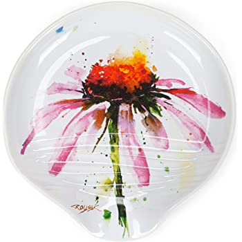 Dean Crouser Echinacea Herbal Floral Watercolor Red 5 x 5 Ceramic Stoneware Spoon Rest