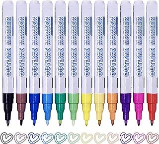 SAYEEC Double line Outline Pen Metallic Marker Pen 0.7mm Nylon Tip Colored Art Pen Set Highlighter Pen 12pcs Drawing Paint...