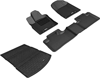 3D MAXpider Fitted Car Mat - Complete Set of Custom Fit All-Weather Car Mats - Including Cargo Liner and Bundled Car Duster - for Dodge Durango (2017-2019) - Kagu Rubber (Black)