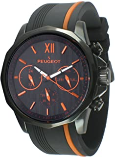Peugeot Men Big Face Chronograph Sport Watch - Round with Day, Date. 24 Hours Sub Dial Windows & Silicone Strap