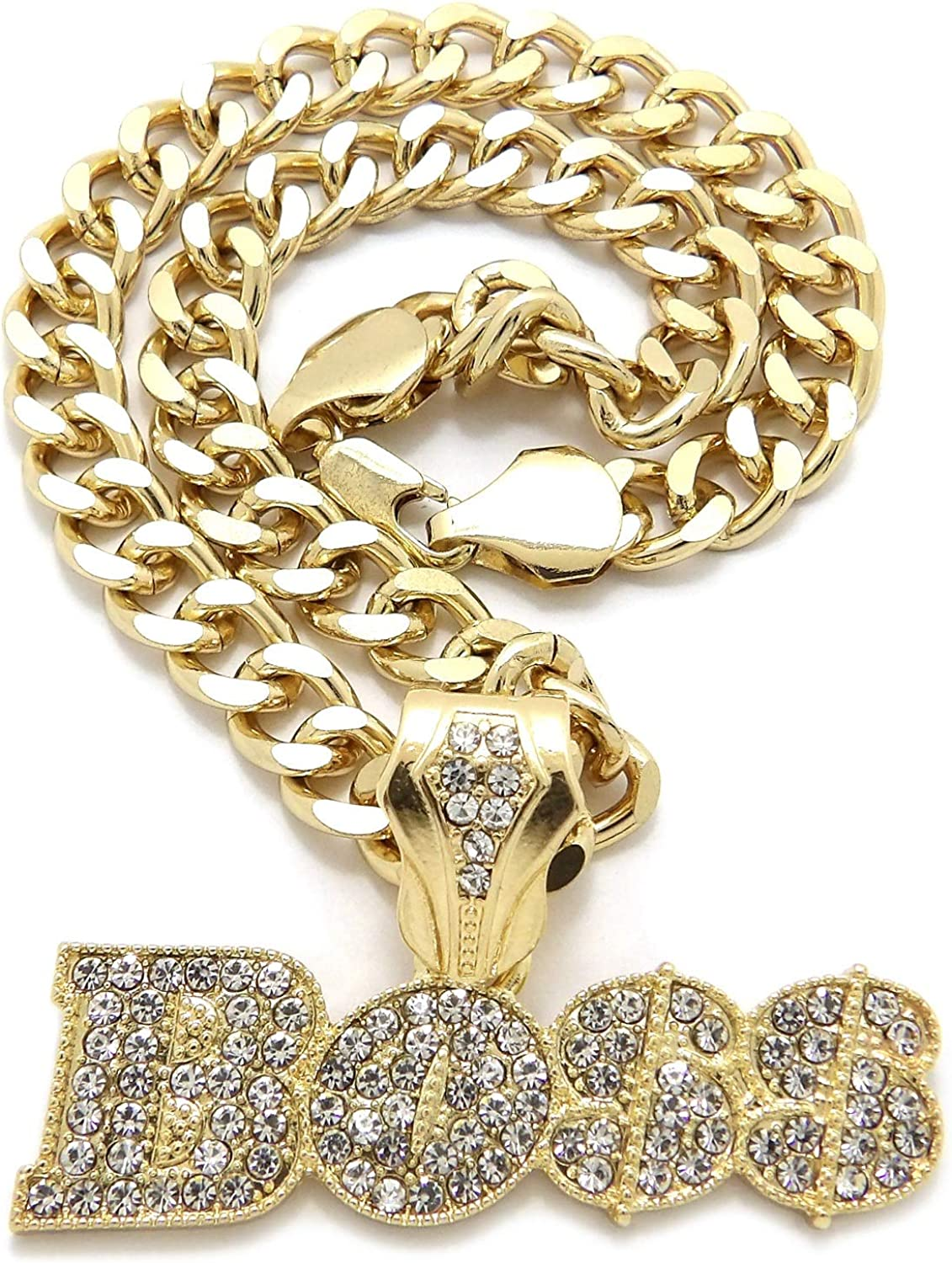 iJewelry2 Urban BOSS Script Crystals Encrusted Pendant Gold-Tone Cuban Linked Chain Necklace