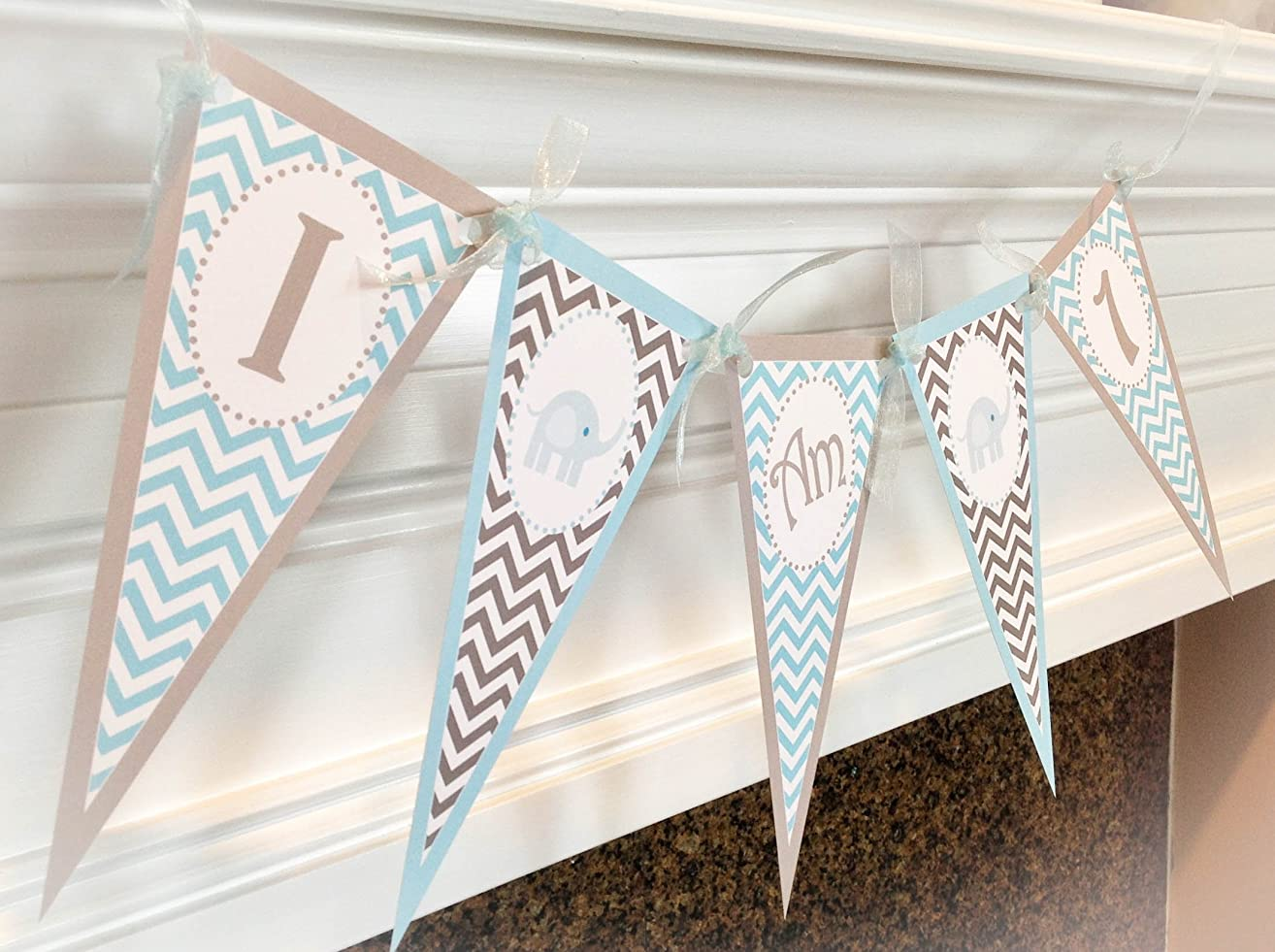 1 am 1 Pennant Highchair Banner - Baby Blue Elephant Happy Birthday Collection - Blue & Gray Chevron - Party Packs Available