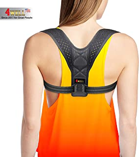 4well Posture Corrector for Women Men - Designed in USA Rounded Shoulders Slouch Brace - Wearable Posture Support Straps for Upper Back - Fix Posture Easy