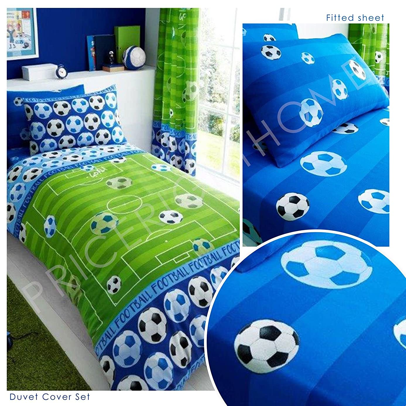 Goal Soccer Blue UK Single / US Twin Duvet Cover and Pillowcase Plus Matching Single Fitted Sheet