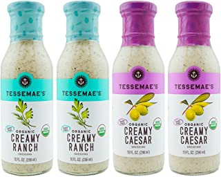 Tessemae's Creamy Salad Dressing 4 Pack - Ranch + Caesar (Whole 30 Approved)