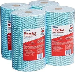 WypAll 94159 WypAll Blue Colour Coded Heavy Duty Wiper Rolls, 107 Wipers/Roll, Case of 4 Rolls, Blue 3.644 kilograms