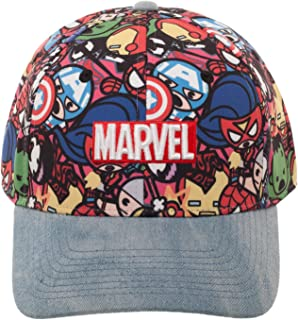Comics Kawaii Avengers Denim Baseball Hat with Curved Bill