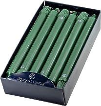 شمعة كولونيال كاندل مستدق يدوية غير معطرة، مجموعة من 12 قطعة، أخضر فاتح