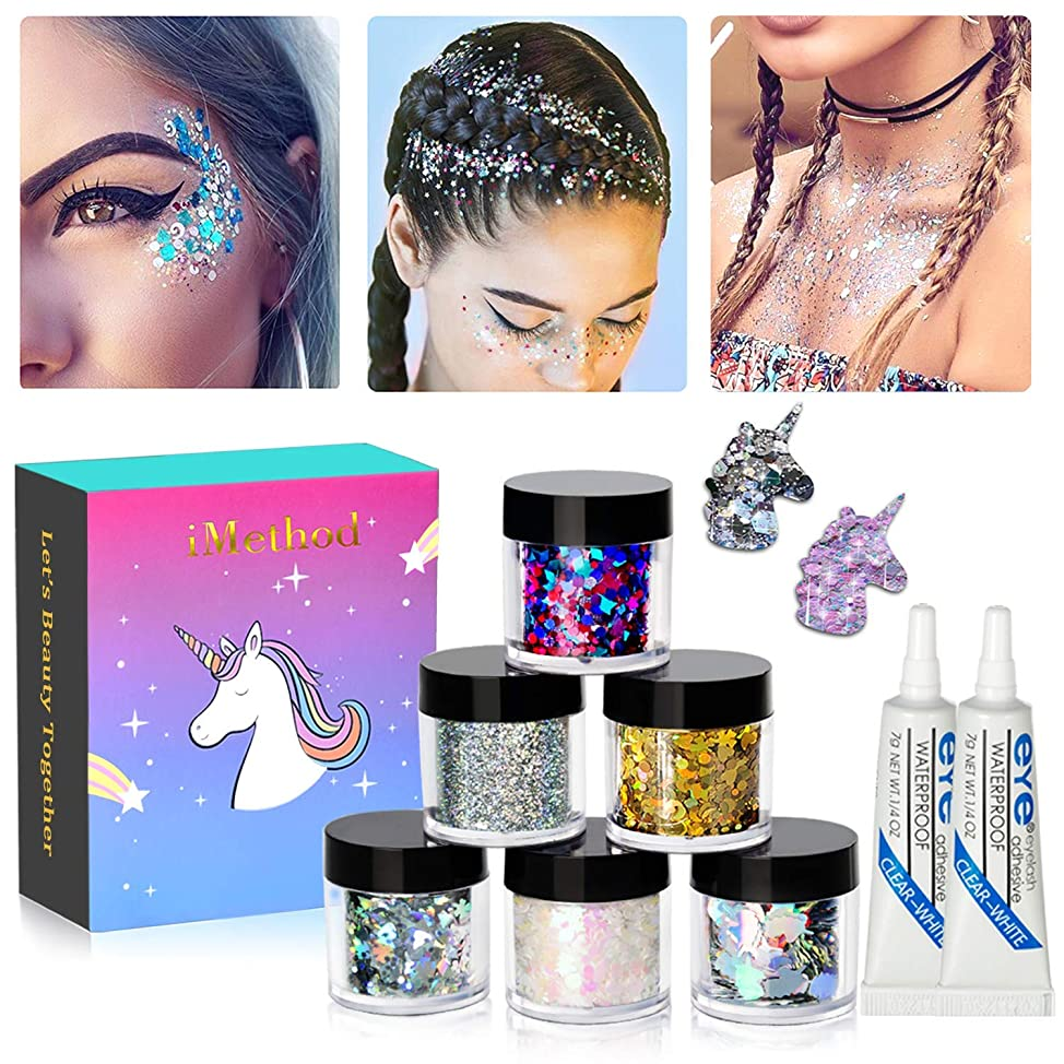 Holographic Chunky Body Glitters Set - 6 Jars iMethod Cosmetic Glitters Flakes, for Festival Face Makeup, Body, Hair, Nail and other Occasions jzufgaah601