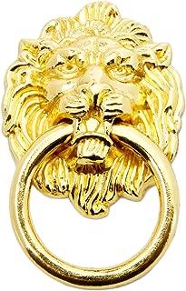 5pcs Gold Lion Head Pulls for Dresser, Drawer, Cabinet, Door Handles Knobs (1.65x2.64 Inch)