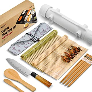 ISSEVE Sushi Making Kit, Bamboo Sushi Mat, All In One Sushi Bazooka Maker with Bamboo Mats, Bamboo Chopsticks, Paddle, Spr...