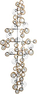 WHW Whole House Worlds Modernist Floating Circles, Abstract Metal Wall Art, Artisan Crafted, Roundels of Champagne Finish, Mirrors, Faux Multi Carat Diamonds, Iron, 34.5 Inches, Hangers on Back
