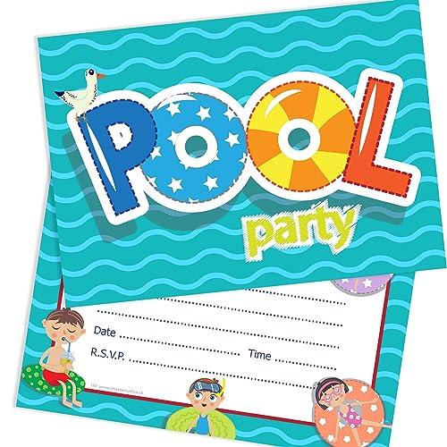 Pool Party Invitations Amazon Co Uk