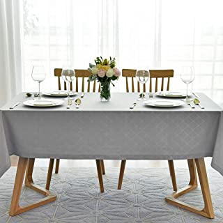 maxmill Jacquard Poly-Cotton Tablecloth Geometric Pattern SpillProof, Water Resistant Wide Hem Heavy Weight Soft Table Cloth for Kitchen Dining Tabletop Decoration Rectangle, Light Grey, 52x70 Inch