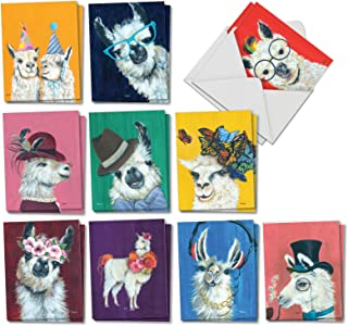 Personality Llamas - 20 Cute Painted Blank Greeting Cards with Envelopes (4 x 5.12 Inch) - Assortment of Boxed Farm Animal All-Occasion Note Cards (10 Designs, 2 Each) AM7036OCB-B2x10