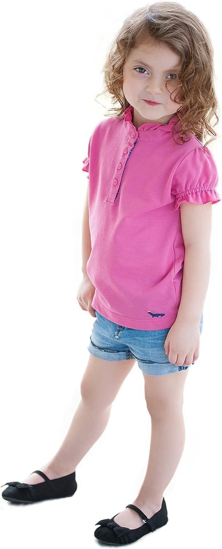 Dakomoda Toddler Girls' Ruffled Pink Polo - 100% Pima Cotton