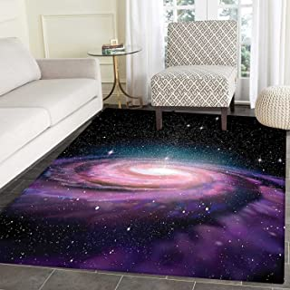 Galaxy Area Mat Spiral Galaxy in Outer Space Andromeda Nebula Star Dust Universe Astronomy Print Indoor/Outdoor Area Mat 2'x3' Mauve Black