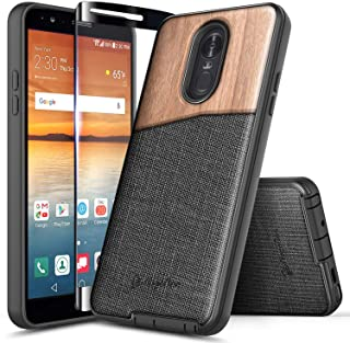 LG Stylo 4 Case, LG Stylo 4 Plus/LG Q Stylus w/[Full Coverage Tempered Glass Screen Protector], NageBee Premium Natural Wood Canvas Fabrics Armor Defender Dual Layer Shock Proof Hybrid Case -Wood