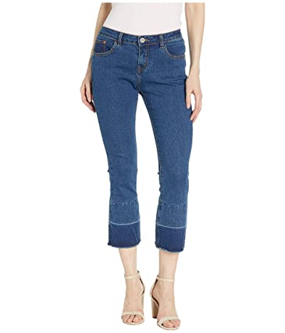 HUE Two-Tone Hem Denim Cropped Flare Leggings (Deep Indigo Wash) Women